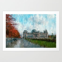 Reichstag, Berlin - abstract landmark drawing / painting /  impressionism style Illustration  / Art Print