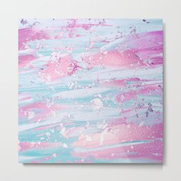 Shine Shimmer Pastel Pink and Blue Modern Metal Print