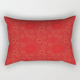 Bright ruby red fancy abstract love style pattern with fine golden hearts and bubbles Rectangular Pillow