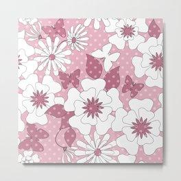 Delicate pink floral pattern. Metal Print