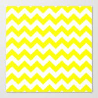 chevron Canvas Prints featuring Chevron (Yellow/White) by 10813 Apparel