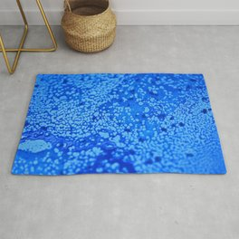 Blue close-up abstract hand painted alcohol Ink texture Rug
