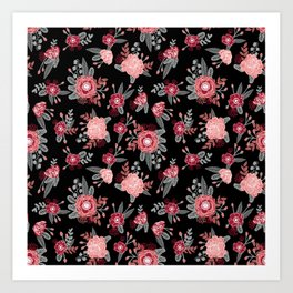 Floral Bama alabama crimson tide pattern gifts for university of alabama students and alumni Art Print