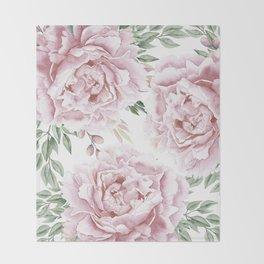 Beautiful Pink Roses Garden Throw Blanket
