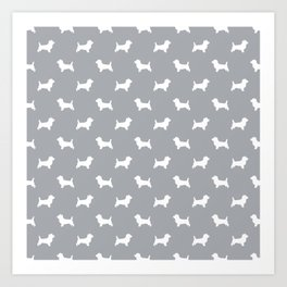 Cairn Terrier dog breed grey and white dog pattern pet dog lover minimal Art Print