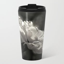 peony flower in black and white with a hint of pink Metal Travel Mug