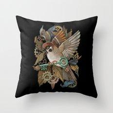 Clockwork Sparrow Throw Pillow