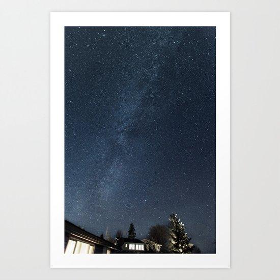 Cabin under the stars Art Print