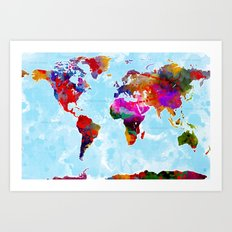 World Map - 3 Art Print