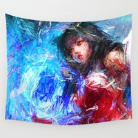league Wall Tapestries featuring League of Legends - Ahri by Raditya Giga
