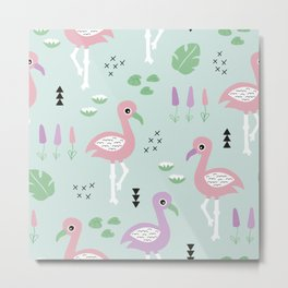 Tropical flamingo beach summer pattern Metal Print