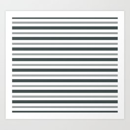 PPG Night Watch Pewter Green and White Stripes, Wide and Narrow Horizontal Line Pattern Art Print