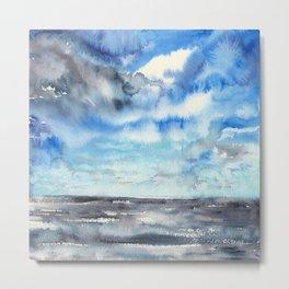 Blue escape - stormy seascape Metal Print