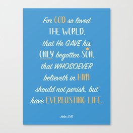 John 3:16 - Blue Canvas Print