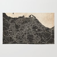 edinburgh Area & Throw Rugs featuring edinburgh map ink lines by NJ-Illustrations