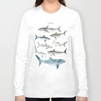 wildlife Long Sleeve T-shirts featuring Sharks by Amy Hamilton