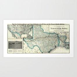 Vintage Texas and Louisiana Railroad Map (1903) Art Print