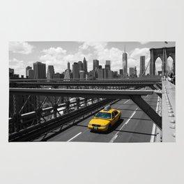 Yellow Cab on Brooklyn Bridge Rug