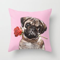 Pug with Red Rose Throw Pillow