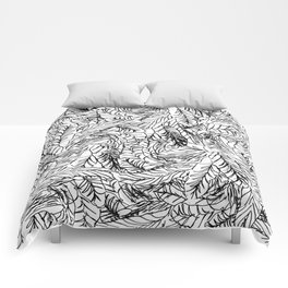 Black and White Feathers Comforters