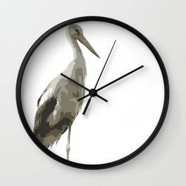 Side View Of A White Stork Isolated Wall Clock