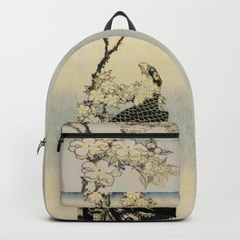 Hokusai -falcon next to a plum tree in bloom - 葛飾 北斎,hawk,bird. Backpack