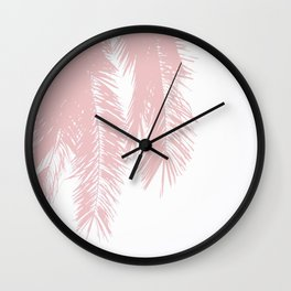 Palm Leaves - Powder Pink Wall Clock
