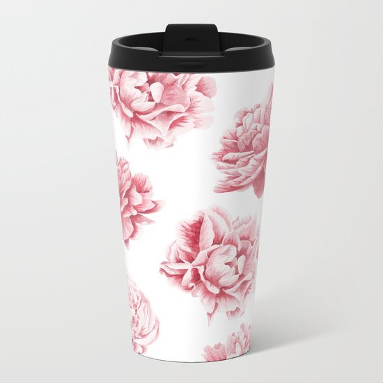 Pink Rose Garden on White Metal Travel Mug