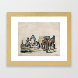 A dead or injured young huntsman is tended by two men and a lady looking on. Coloured lithograph by Framed Art Print