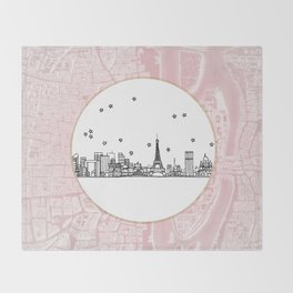 Paris, France, France, Europe City Skyline Illustration Drawing Throw Blanket