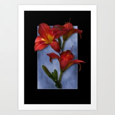 Red Lily Flowers Art Print