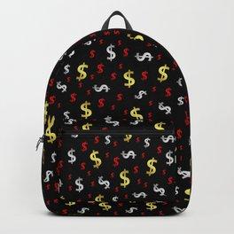 golden,silver,red,black pattern dollar symbol Backpack