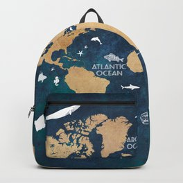 World Map Oceans Life blue #map #world Backpack