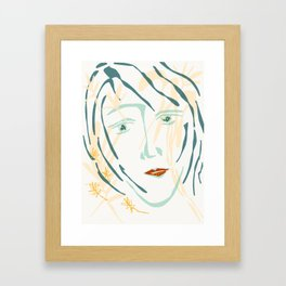 sketch of woman Framed Art Print