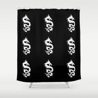mythology Shower Curtains featuring Chinese Mythology Dragon - Black White by Strawberry and Hearts