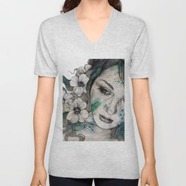 Cleopatra's Sling (flower tattoo lady portrait drawing) Unisex V-Neck