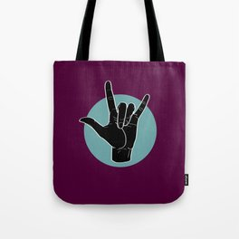 ILY - I Love You - Sign Language - Black on Green Blue 08 Tote Bag