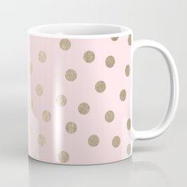 Dots White Gold Sands on Flamingo Pink Coffee Mug