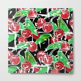 Ripe cherry . Abstract red black berry pattern . Metal Print