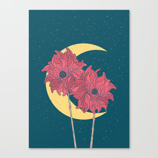 Midnight Flowers Canvas Print