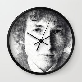 Bob Dylan portrait 03 Wall Clock