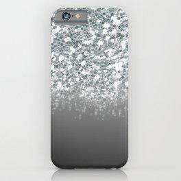 Black Gray & Silver Glitter Ombre iPhone Case