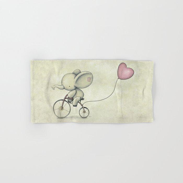 Cute Elephant riding his bike Hand & Bath Towel