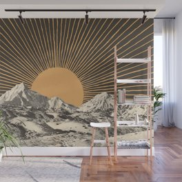 Mountainscape 6 - Night Sun Wall Mural