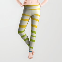 Playing with Strings - Line Art - Blue, Green, Yellow Leggings