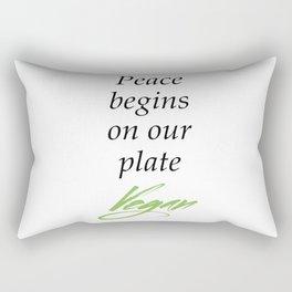 Peace begins on our plate - Vegan Rectangular Pillow