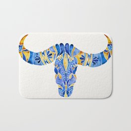 Water Buffalo Skull – Navy & Gold Bath Mat