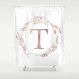 Letter T Rose Gold Pink Initial Monogram Shower Curtain