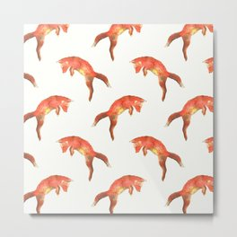 Pouncing Fox Metal Print