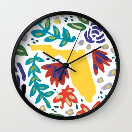 Florida + Florals Wall Clock